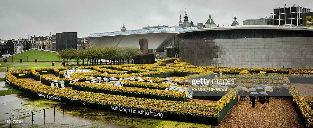 Visitors walk to a maze of sunflowers to celebrate the opening of the new entrance of the Van Gogh Museum at the Museum Square in Amsterdam on...