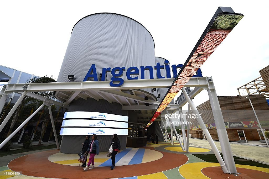 Visitors walks in front of the Argentina pavillion of the Universal Exposition EXPO2015 on May 1 2015 in Milan Milan's EXPO2015 opens on May 1 with...