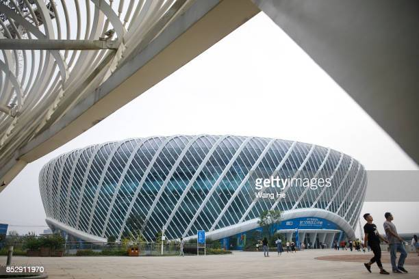 Visitors walks outside the Centre Court during Day 1 of 2017 Wuhan Open on September 24 2017 in Wuhan China