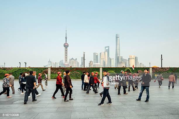 visitors wander at the bund, Shanghai, China