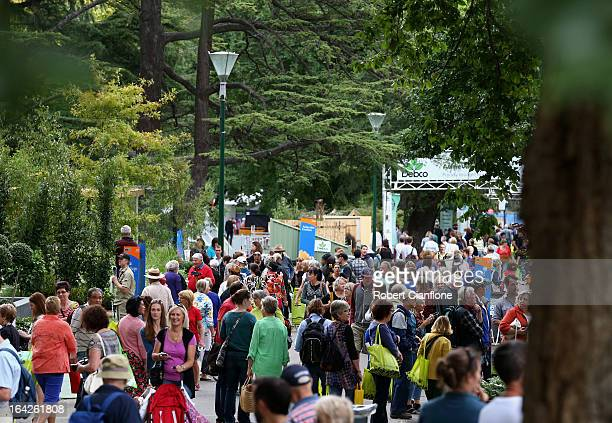 Visitors wander through the gardens at the 18th annual International Flower and Garden Show held at the Royal Exhibition Building and the surrounding...