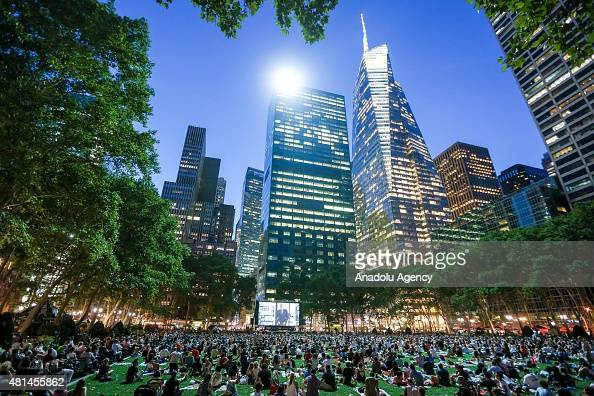 Visitors watch director Terrence Malick's masterful debut film 'Badlands' on a big screen during the HBO Bryant Park Summer Film Festival at Bryant...