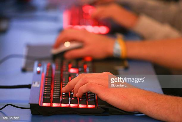 Visitos use keyboards to play computer games during the EGX gaming conference at Earls Court in London UK on Thursday Sept 25 2014 Sony Corp will...