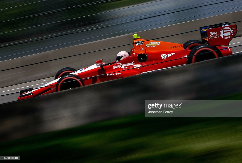E. J. Viso of Venezuela drives his #5 CITGO KV Racing Technology Chevy Dallara DW12 during qualifying for the IZOD INDYCAR Series Chevrolet Detroit Belle Isle Grand Prix on Belle Isle on June 2, 2012 in Detroit, Michigan.