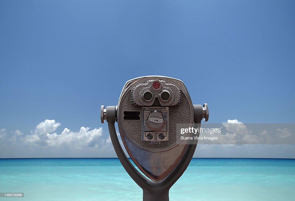 Visor pointed to blue sea : Stock Photo