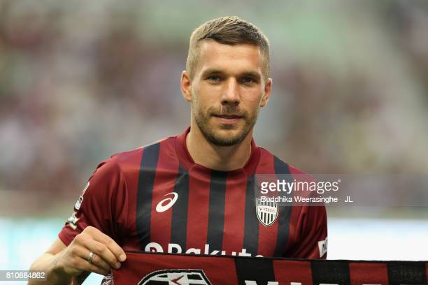 Vissel Kobe new player Lukas Podolski is introduced to supporters prior to the JLeague J1 match between Vissel Kobe and Vegalta Sendai at Noevir...