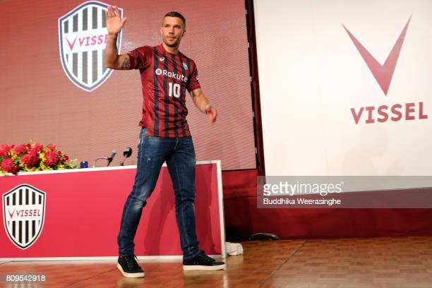Vissel Kobe new player Lukas Podolski waves as leave during a press conference on July 6 2017 in Kobe Hyogo Japan