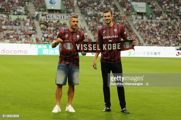 Vissel Kobe new players Lukas Podolski and Mike Havenaar are introduced to supporters prior to the JLeague J1 match between Vissel Kobe and Vegalta...