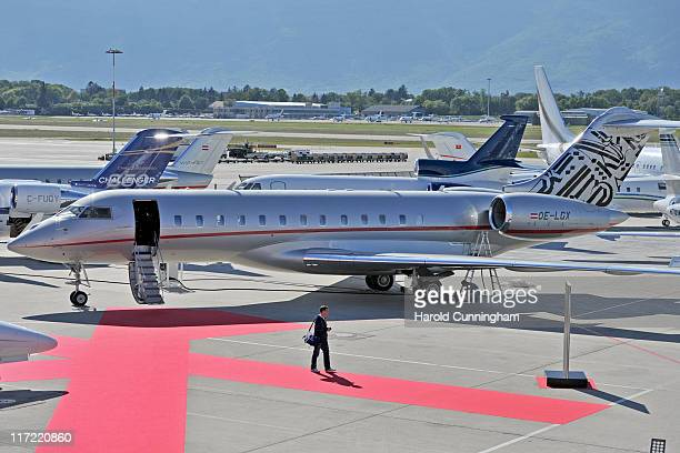 VistaJet featuring the work of graffiti artist Retna is seen during the 11th annual European Business Aviation Convention and Exhibition held at...