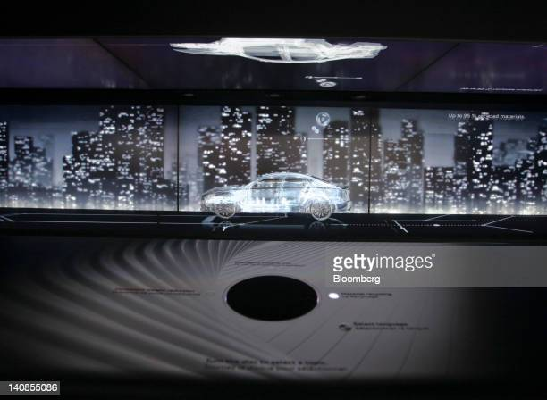 A 3D visual display for Audi automobiles produced by Audi AG is seen on their stand during the second press day of the Geneva International Motor...