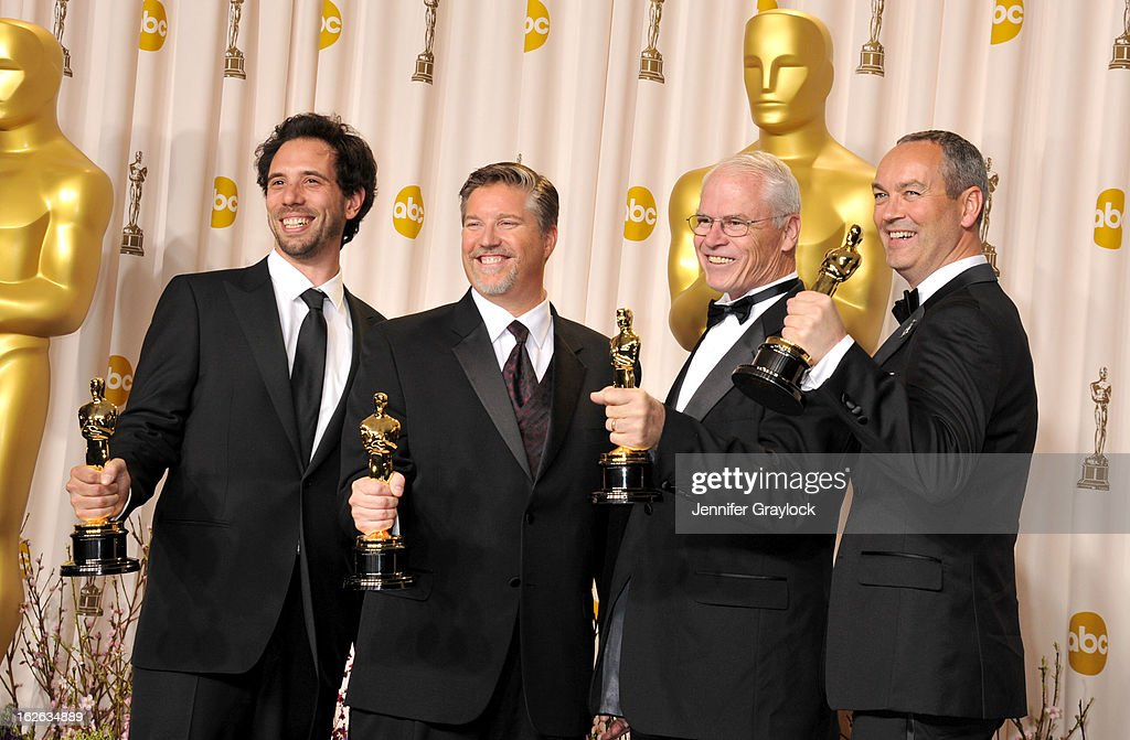 Visual effects artists Guillaume Rocheron, Bill Westenhofer, Donald R. Elliott and Erik-Jan de Boer, winners of the Best Visual Effects award for 'Life of Pi pose in the press room during the 85th Annual Academy Awards held at Hollywood & Highland Center on February 24, 2013 in Hollywood, California.