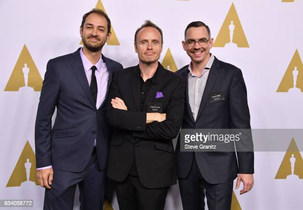 Visual Effects Artists Vincent Cirelli Stephane Ceretti and Richard Bluff attend the 89th Annual Academy Awards Nominee Luncheon at The Beverly...