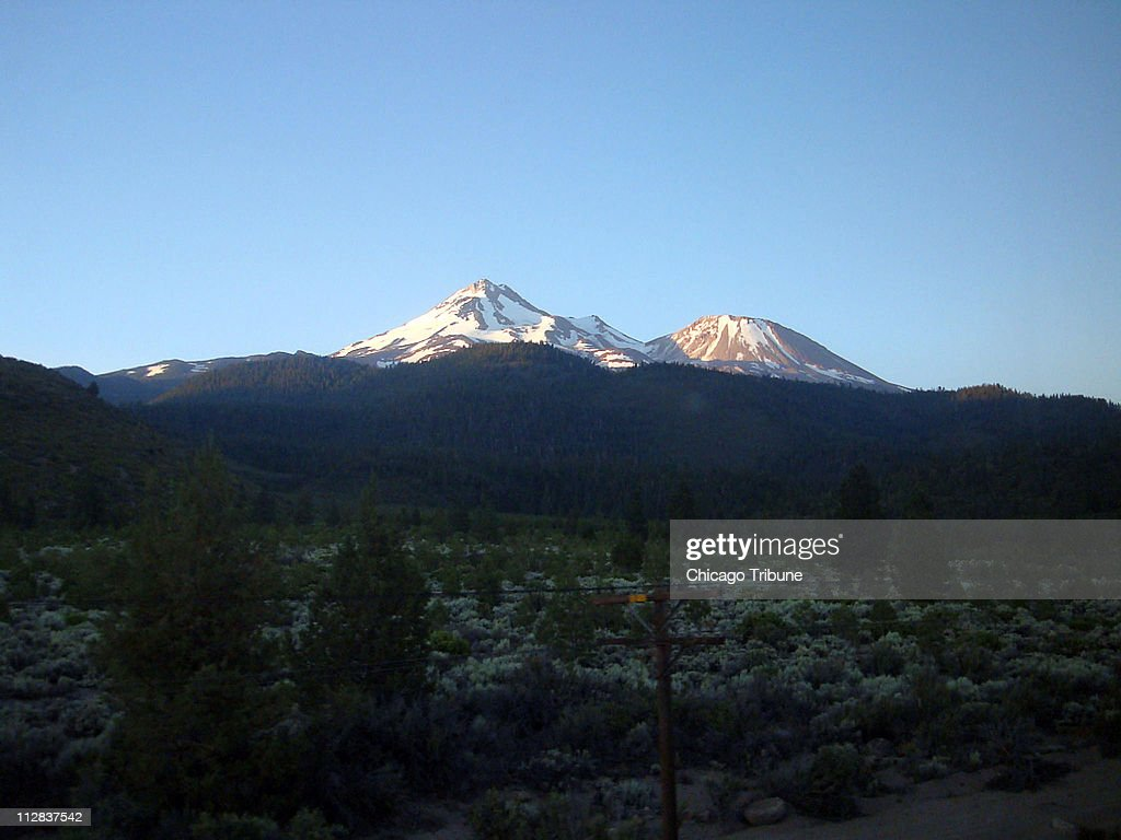 A visual wake-up call in northern California, Mount Shasta, as seen from the Amtrak Coast Starlight.