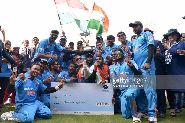 Visually challenged players of the Indian blind cricket team celebrate their victory against Pakistan after winning the 2nd T20 World Cup Cricket for...