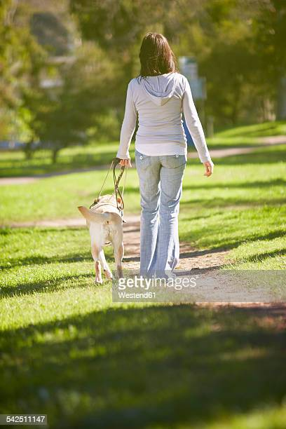 Visually impaired woman walking with guide dog in a park