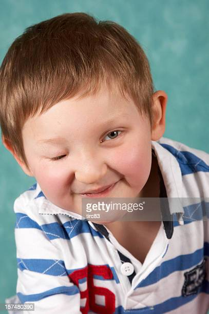 Visually impaired youngster vertical portrait