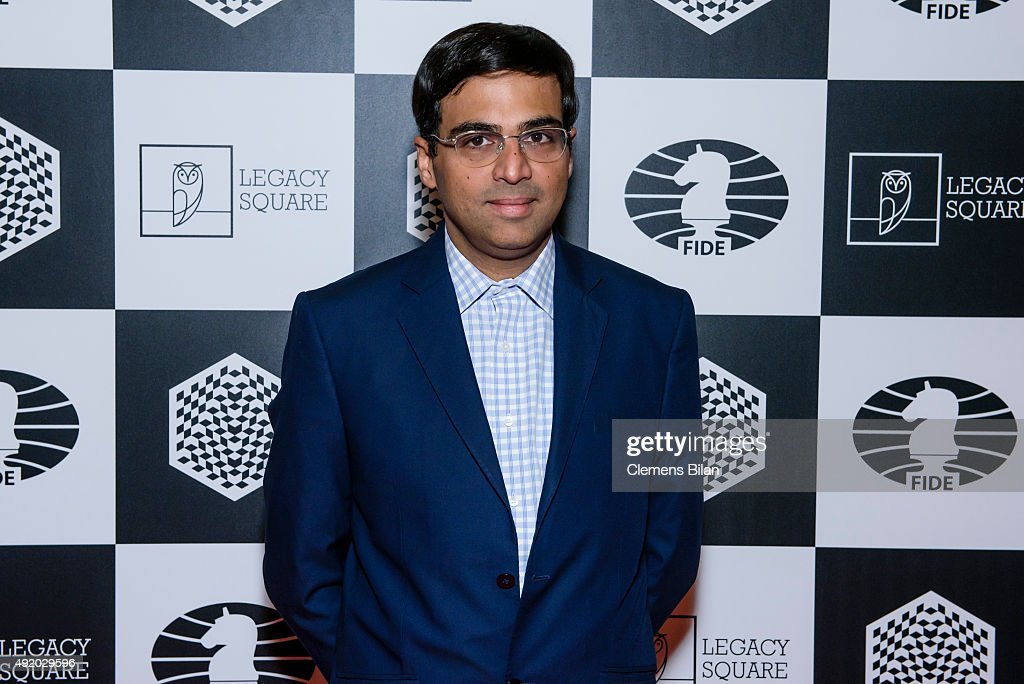 <a gi-track='captionPersonalityLinkClicked' href=/galleries/search?phrase=Viswanathan+Anand&family=editorial&specificpeople=639502 ng-click='$event.stopPropagation()'>Viswanathan Anand</a> attends the opening ceremony of the World Rapid and Blitz Chess Championship and the special screening of 'Pawn Sacrifice' (german title: Bauernopfer - Spiel der Koenige) at Kino International on October 9, 2015 in Berlin, Germany.