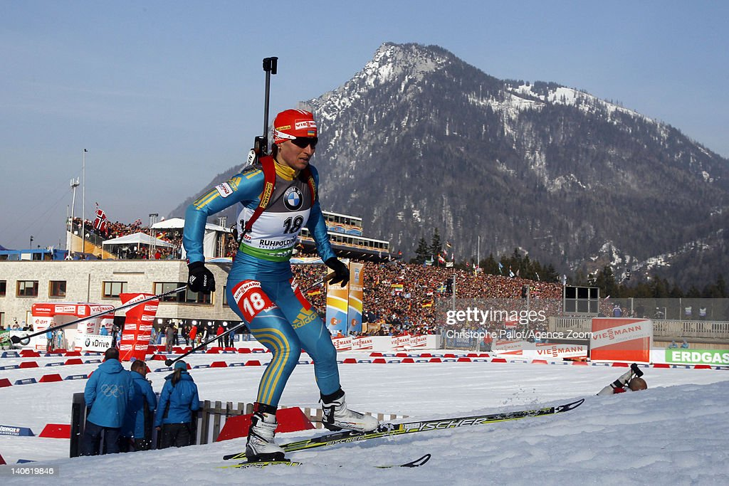 Vita Semerenko of Ukraine takes 3rd place during the IBU Biathlon World Championships Women's Sprint on March 03, 2012 in Ruhpolding, Germany.