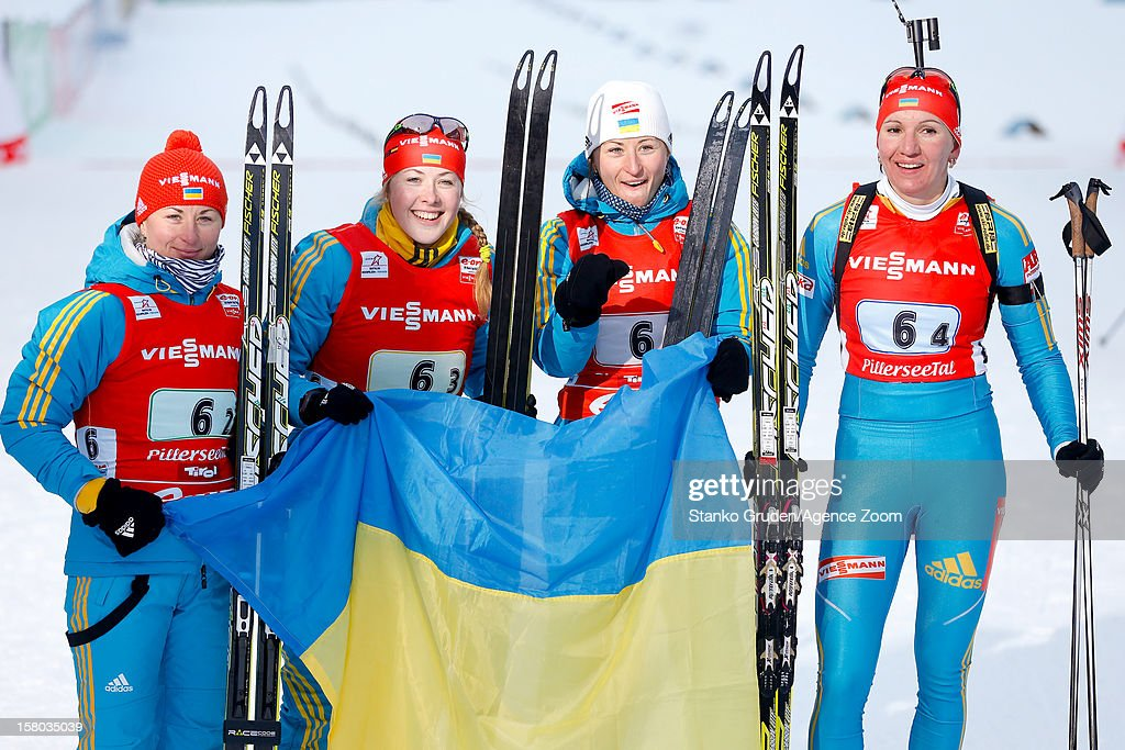 Vita Semerenko, Valj Semerenko, Dzhyma Juliya, Olena Pidhrushna of Ukraine takes 2nd place during the IBU Biathlon World Cup Women's Relay on December 09, 2012 in Hochfilzen, Austria.