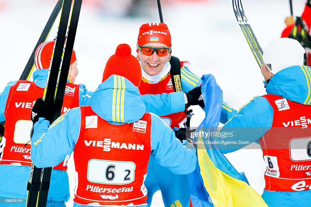 Vita Semerenko, Valj Semerenko, Dzhyma Juliya, Olena Pidhrushna of Ukraine take 2nd place during the IBU Biathlon World Cup WomenÕs Relay on December 09, 2012 in Hochfilzen, Austria.
