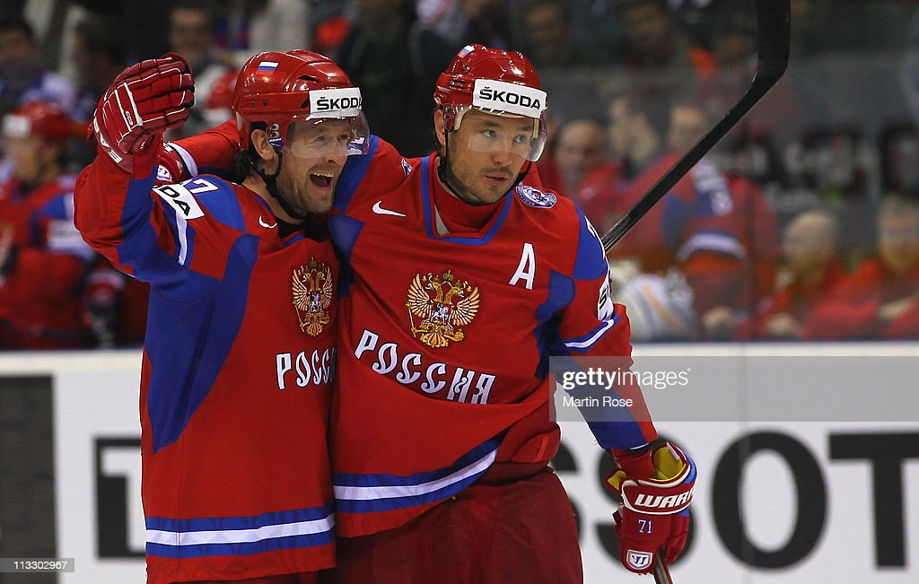Vitali Atyushov (L) of Russia celebrate with team mate Ilya Kovalchuk (R) after he scores his team's 1st goal during the IIHF World Championship group A match between Russia and Slovenia at Orange Arena on May 1, 2011 in Bratislava, Slovakia.