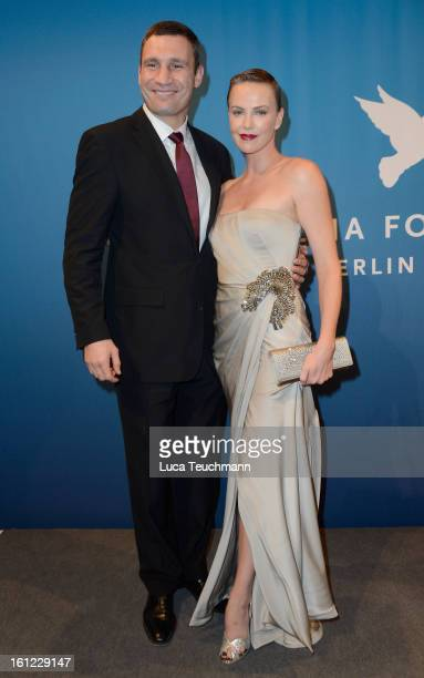 Vitali Klitschko and Charlize Theron during the Cinema For Peace Gala Ceremony at the 63rd Berlinale International Film Festival at the Waldorf...