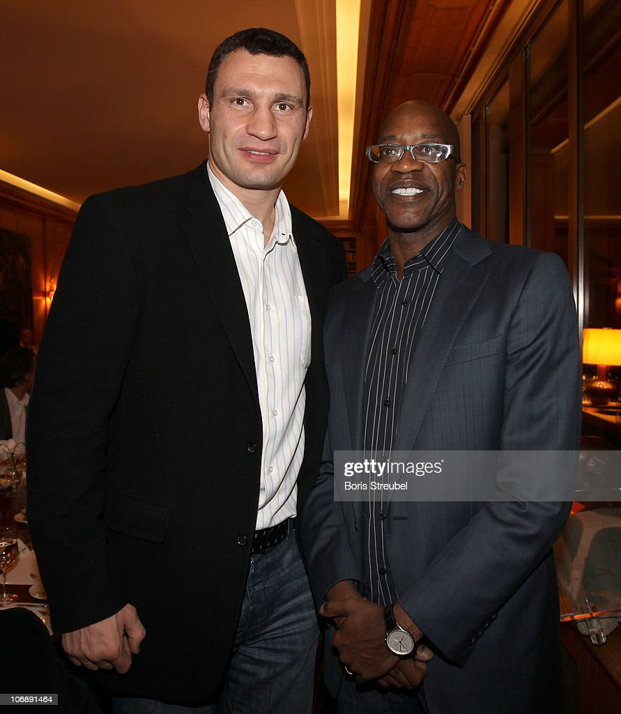 <a gi-track='captionPersonalityLinkClicked' href=/galleries/search?phrase=Vitali+Klitschko&family=editorial&specificpeople=206402 ng-click='$event.stopPropagation()'>Vitali Klitschko</a> (L) and <a gi-track='captionPersonalityLinkClicked' href=/galleries/search?phrase=Edwin+Moses+-+Track+and+Field+Athlete&family=editorial&specificpeople=206882 ng-click='$event.stopPropagation()'>Edwin Moses</a> attend the Academy Dinner of the Laureus Academy Forum at Springer Publishers Club on November 15, 2010 in Berlin, Germany.
