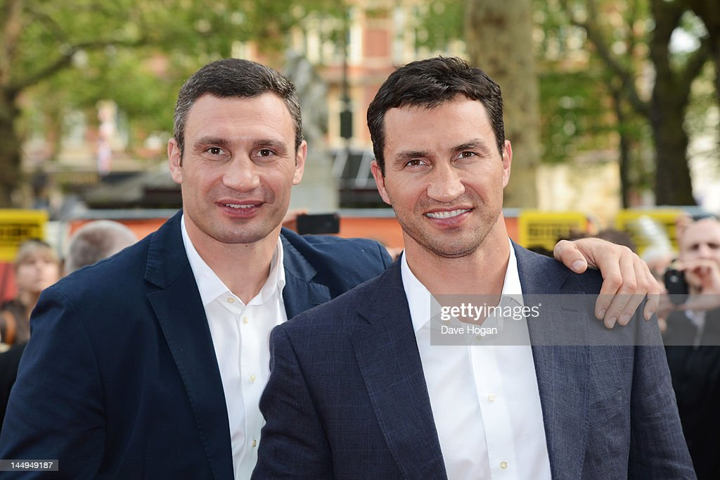 <a gi-track='captionPersonalityLinkClicked' href=/galleries/search?phrase=Vitali+Klitschko&family=editorial&specificpeople=206402 ng-click='$event.stopPropagation()'>Vitali Klitschko</a> and <a gi-track='captionPersonalityLinkClicked' href=/galleries/search?phrase=Wladimir+Klitschko&family=editorial&specificpeople=210650 ng-click='$event.stopPropagation()'>Wladimir Klitschko</a> attend the UK premiere of Klitschko at The Empire Leicester Square on May 21, 2012 in London, England.