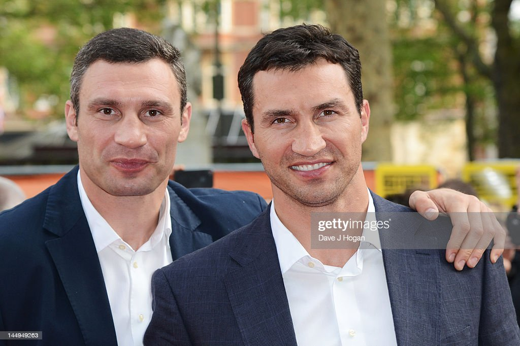 Vitali Klitschko and Wladimir Klitschko attend the UK premiere of Klitschko at The Empire Leicester Square on May 21, 2012 in London, England.