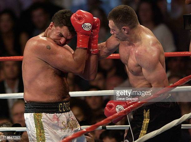 Vitali Klitschko attacks Corrie Sanders in the 8th round of their WBC Heavyweight Championship Title Bout seconds before the fight was stopped by...