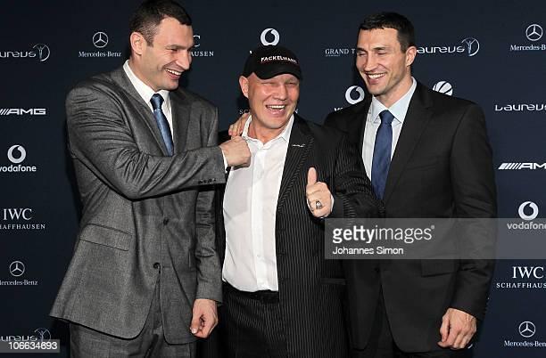Vitali Klitschko Axel Schulz and Wladimir Klitschko attend the Laureus Media Award 2010 at Grand Tirolia Golf Ski Resort on November 8 2010 in...