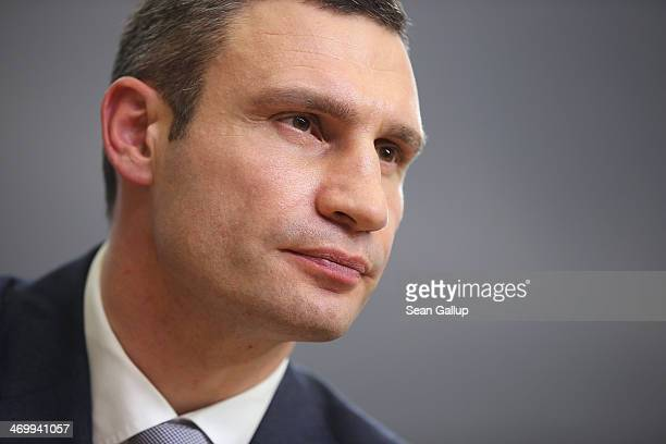 Vitali Klitschko Chairman of the UDAR Ukrainian opposition party speaks at a press conference along with Ukrainian opposition politician Arseniy...