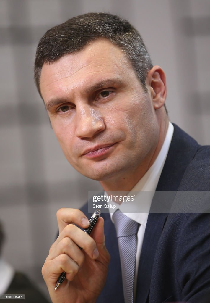 <a gi-track='captionPersonalityLinkClicked' href=/galleries/search?phrase=Vitali+Klitschko&family=editorial&specificpeople=206402 ng-click='$event.stopPropagation()'>Vitali Klitschko</a>, Chairman of the UDAR Ukrainian opposition party, speaks at a press conference along with Ukrainian opposition politician Arseniy Yatsenyuk at the Reichstag on February 17, 2014 in Berlin, Germany. Klitschko and Yatsensuk met with Chancellor Merkel earlier in the day and are in Berlin in an effort to convince the European Union to impose sanctions on Ukraine.