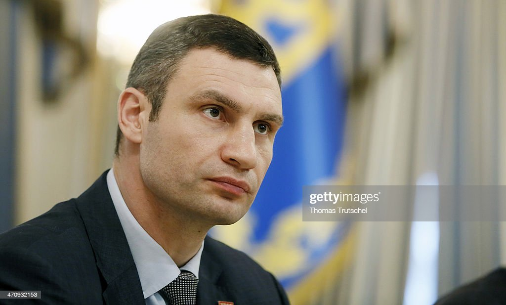 <a gi-track='captionPersonalityLinkClicked' href=/galleries/search?phrase=Vitali+Klitschko&family=editorial&specificpeople=206402 ng-click='$event.stopPropagation()'>Vitali Klitschko</a>, leader of Ukraine's UDAR opposition party, before the signing of the Agreement in the Presidential Palace on February 21, 2014 in Kiev, Ukraine. Steinmeier and his counterparts from France and Poland meet with President Yanukovych and other government officials and hold separate talks with the opposition. The three ministers will then fly to Brussels for a crisis meeting with EU foreign policy chief Catherine Ashton and other EU foreign ministers.