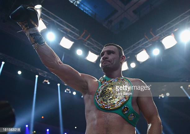 Vitali Klitschko of the Ukraine celebrates after winning the WBCheavy weight title fight between Vitali Klitschko of Ukraine and Manuel Charr of...