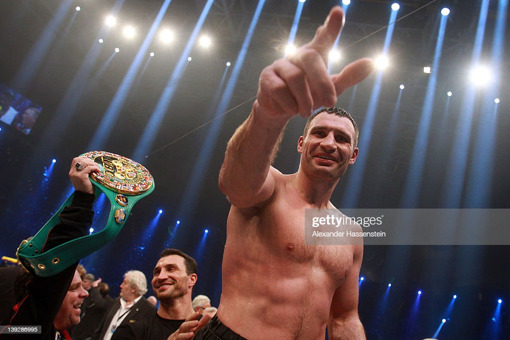 <a gi-track='captionPersonalityLinkClicked' href=/galleries/search?phrase=Vitali+Klitschko&family=editorial&specificpeople=206402 ng-click='$event.stopPropagation()'>Vitali Klitschko</a> of Ukraine celebrates after winning his WBC Heavyweight World Championship fight against Dereck Chisora of Great Britain at Olympia Halle on February 18, 2012 in Munich, Germany.