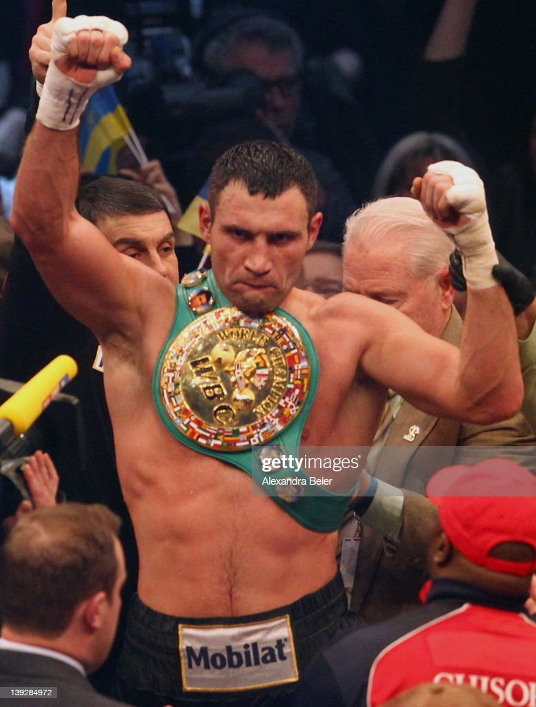 <a gi-track='captionPersonalityLinkClicked' href=/galleries/search?phrase=Vitali+Klitschko&family=editorial&specificpeople=206402 ng-click='$event.stopPropagation()'>Vitali Klitschko</a> of Ukraine celebrates his victory of the WBC heavyweight World Championship title fight against Dereck Chisora of the UK on February 18, 2012 in Munich, Germany.