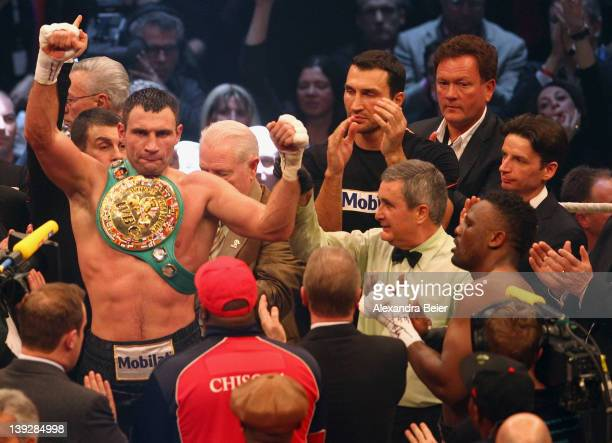 Vitali Klitschko of Ukraine celebrates his victory of the WBC heavyweight World Championship title fight against Dereck Chisora of the UK on February...