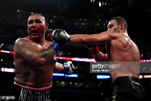 Vitali Klitschko of Ukraine lands a left jab to the face of Chris Arreloa during their WBC World Championship Heavyweight at the Staples Center on...