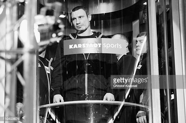 Vitali Klitschko of Ukraine stands in the elevator before the weigh in at Sport Karstadt on March 18 2011 in Cologne Germany The WBC World...