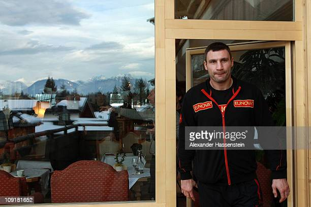 Vitali Klitschko of Ukraine talks arrives for a press conference at Stanglwirt hotel on February 16 2011 in Going Austria The WBC Heavyweight World...
