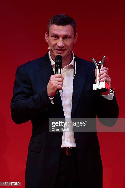 Vitali Klitschko poses with the Award during the Sport Bild Awards at Fischauktionshalle on August 25 2014 in Hamburg Germany