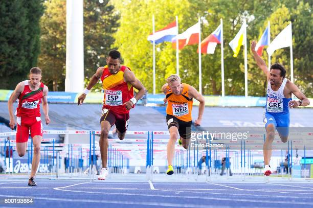 Vitali Parakhonka of Belarus Orlando Ortega of Spain Koen Smet of Netherlands and Konstadinos Douvalidis of Greece compete in the Men's 110m Hurdles...