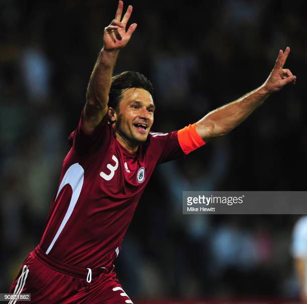 Vitalijs Astafjevs of Latvia celebrates after scoring his team's 2nd goal during the FIFA 2010 World Cup Group 2 Qualifier between Latvia and...