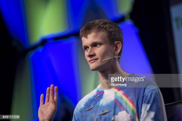 Vitalik Buterin cofounder of Ethereum Foundation and Bitcoin Magazine speaks during the TechCrunch Disrupt 2017 in San Francisco California US on...