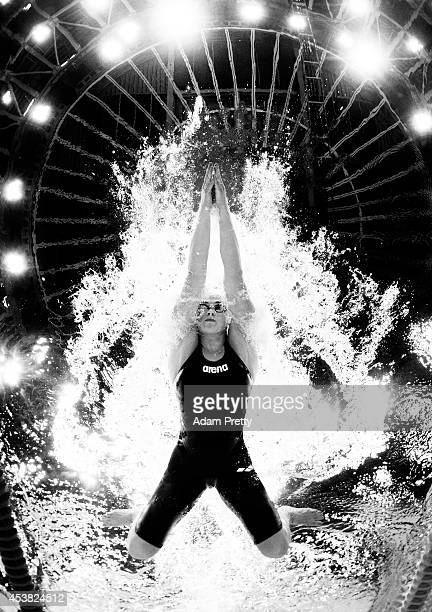 Vitalina Simonova of Russia swims the Women's 100m Breastroke heats during the 32nd LEN European Swimming Championships at EuropaSportpark on August...