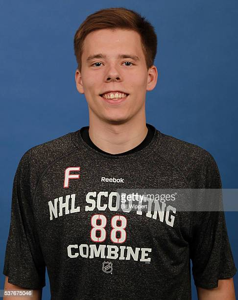 Vitaly Abramov poses for a headshot at the 2016 NHL Combine on June 2 2016 at Harborcenter in Buffalo New York