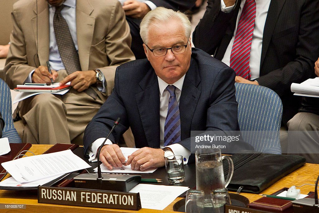 Vitaly Churkin, permanent representative of the Russian Federation to the United Nations, attends a United Nations (UN) Security Council meeting regarding the on-going civil war in Syria on August 30, 2012 in New York City. UN Security Council negotiations regarding the situation in Syria collapsed last month.