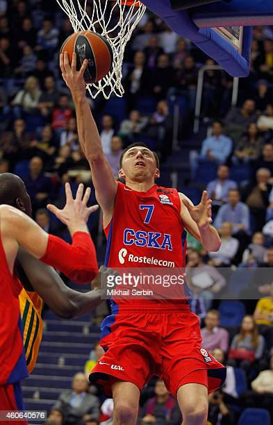 Vitaly Fridzon #7 of CSKA Moscow in action during the 20142015 Turkish Airlines Euroleague Basketball Regular Season Date 10 game between CSKA Moscow...