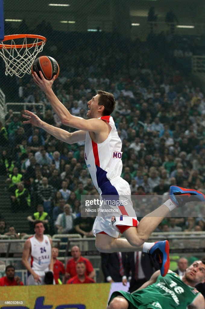Vitaly Fridzon, #7 of CSKA Moscow in action during the Turkish Airlines Euroleague Basketball Play Off Game 4 between Panathinaikos Athens v CSKA Moscow at Olimpic Sports Center on April 23, 2014 in Athens, Greece.